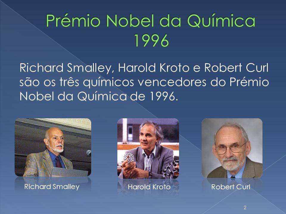 Richard Smalley, Harold Kroto e Robert Curl são os três químicos vencedores do Prémio Nobel da Química de 1996. Richard Smalley Harold KrotoRobert Cur