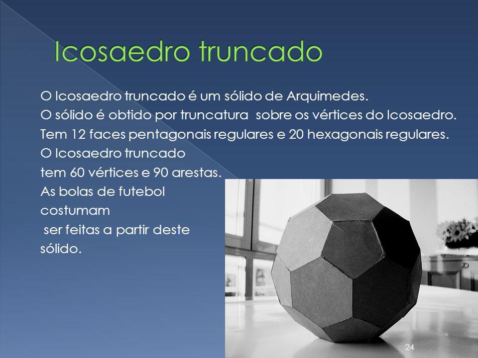 O Icosaedro truncado é um sólido de Arquimedes. O sólido é obtido por truncatura sobre os vértices do Icosaedro. Tem 12 faces pentagonais regulares e
