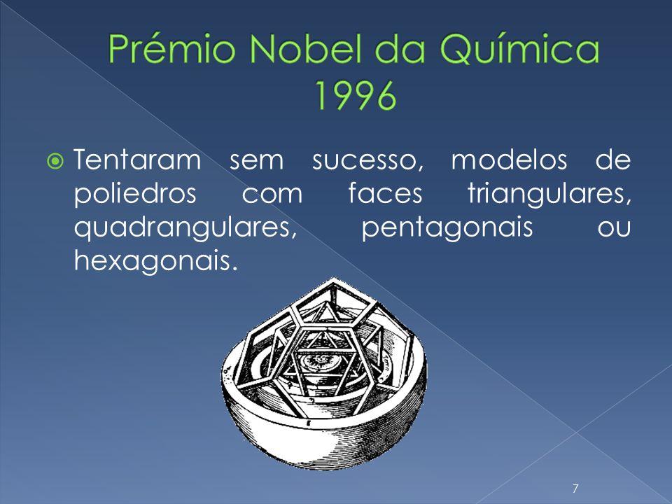 Tentaram sem sucesso, modelos de poliedros com faces triangulares, quadrangulares, pentagonais ou hexagonais. 7