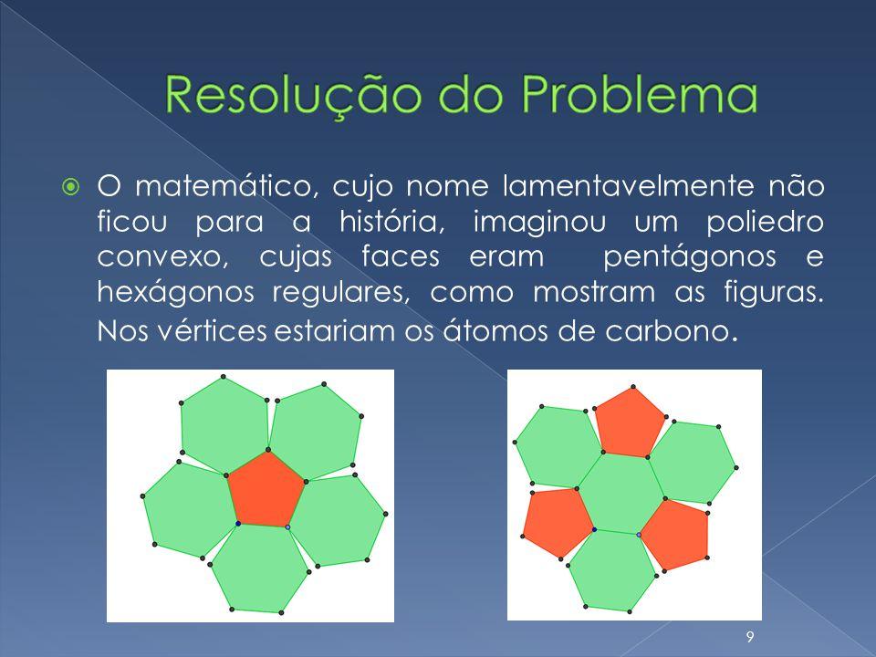 O matemático, cujo nome lamentavelmente não ficou para a história, imaginou um poliedro convexo, cujas faces eram pentágonos e hexágonos regulares, co
