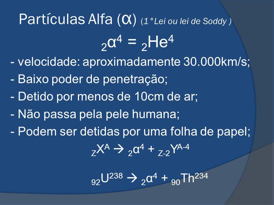 Partículas Alfa ( α ) (1°Lei ou lei de Soddy ) 2 α 4 = 2 He 4 - velocidade: aproximadamente 30.000km/s; - Baixo poder de penetração; - Detido por meno