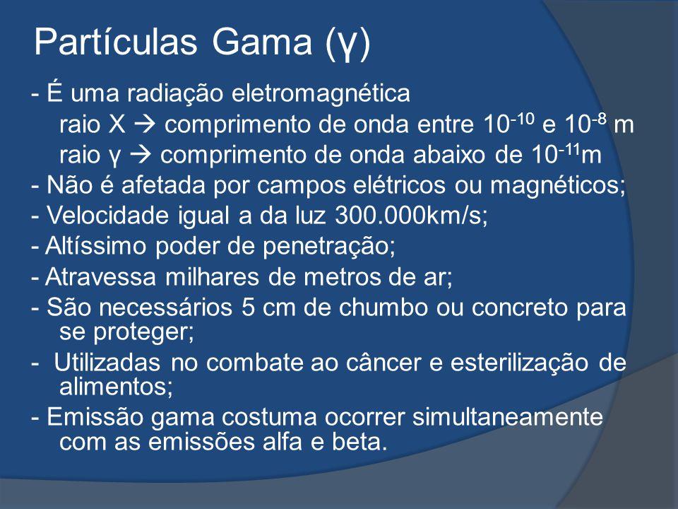 - É uma radiação eletromagnética raio X comprimento de onda entre 10 -10 e 10 -8 m raio γ comprimento de onda abaixo de 10 -11 m - Não é afetada por c