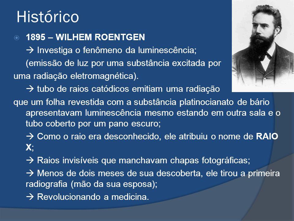 Histórico 1895 – WILHEM ROENTGEN Investiga o fenômeno da luminescência; (emissão de luz por uma substância excitada por uma radiação eletromagnética).