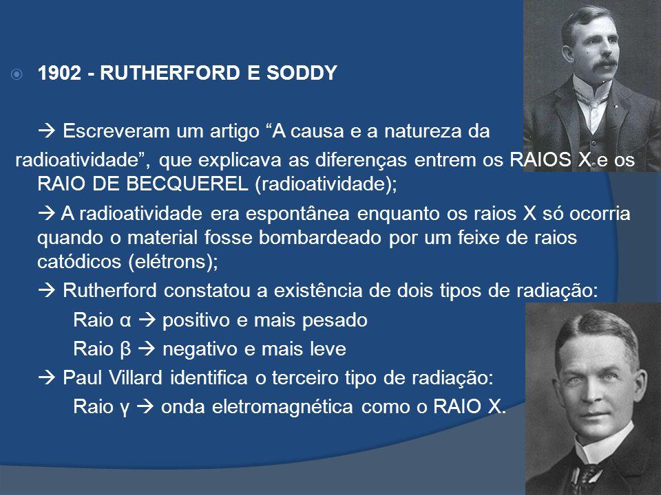 1902 - RUTHERFORD E SODDY Escreveram um artigo A causa e a natureza da radioatividade, que explicava as diferenças entrem os RAIOS X e os RAIO DE BECQ