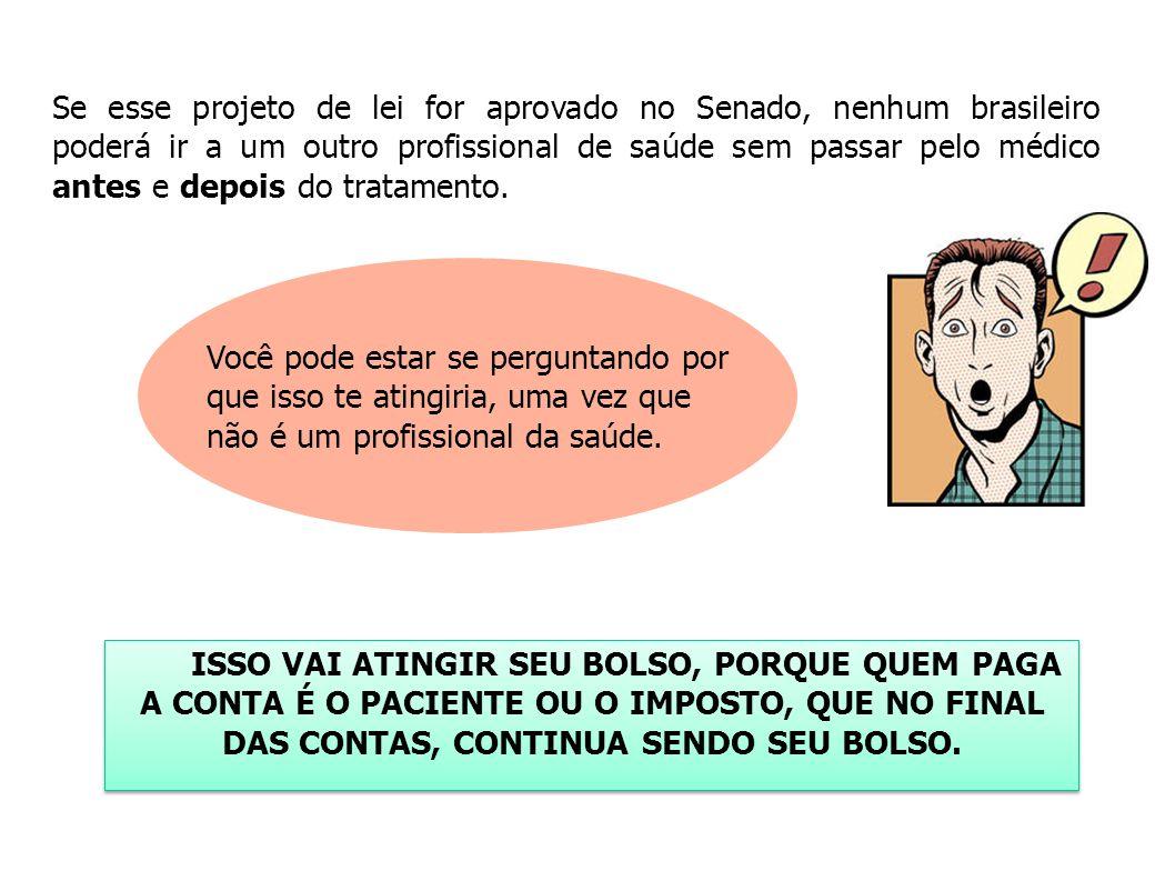 Se esse projeto de lei for aprovado no Senado, nenhum brasileiro poderá ir a um outro profissional de saúde sem passar pelo médico antes e depois do t