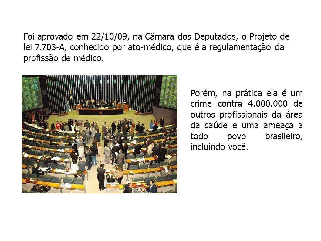Foi aprovado em 22/10/09, na Câmara dos Deputados, o Projeto de lei 7.703-A, conhecido por ato-médico, que é a regulamentação da profissão de médico.