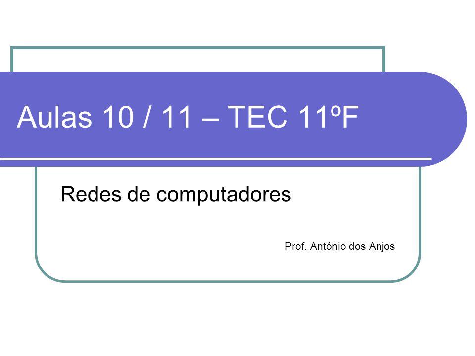 Aulas 10 / 11 – TEC 11ºF Redes de computadores Prof. António dos Anjos