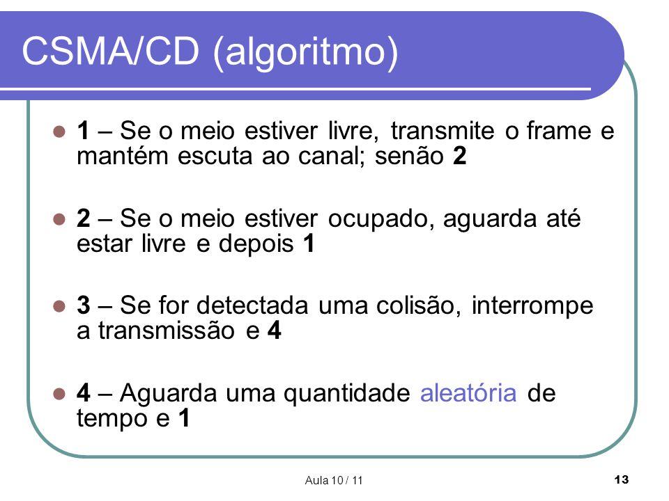 Aula 10 / 1113 CSMA/CD (algoritmo) 1 – Se o meio estiver livre, transmite o frame e mantém escuta ao canal; senão 2 2 – Se o meio estiver ocupado, agu