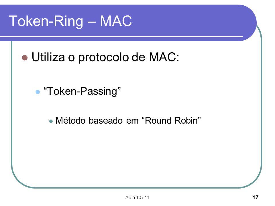 Aula 10 / 1117 Token-Ring – MAC Utiliza o protocolo de MAC: Token-Passing Método baseado em Round Robin