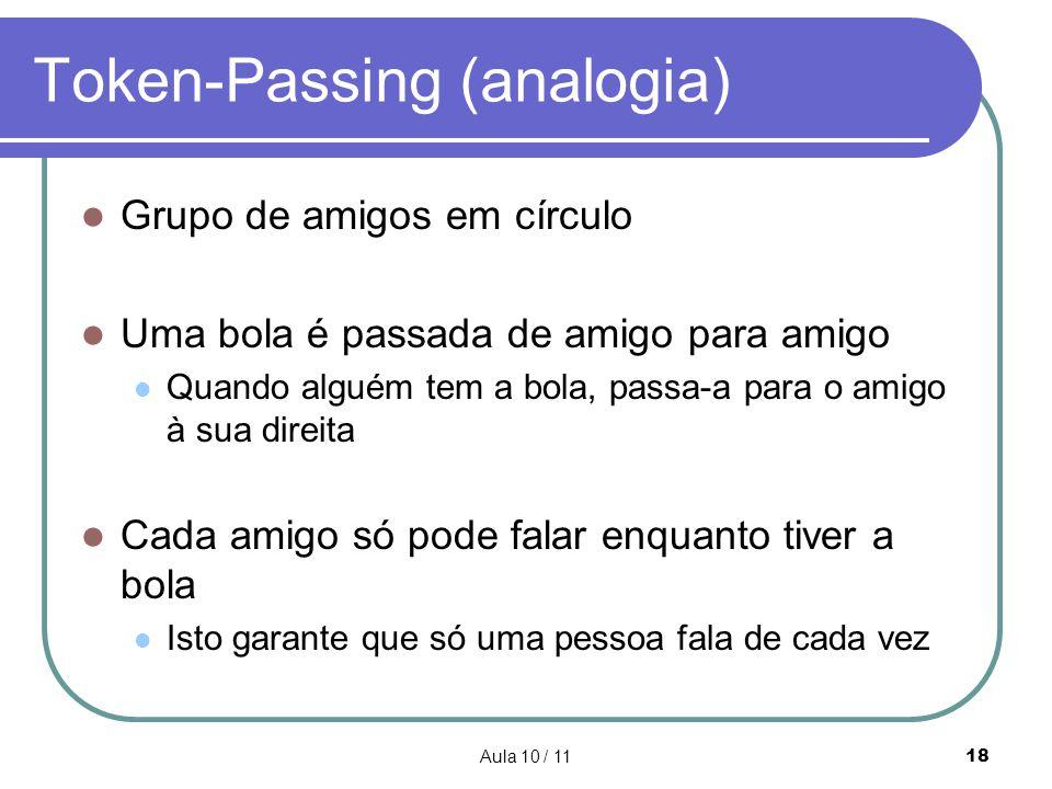 Aula 10 / 1118 Token-Passing (analogia) Grupo de amigos em círculo Uma bola é passada de amigo para amigo Quando alguém tem a bola, passa-a para o ami