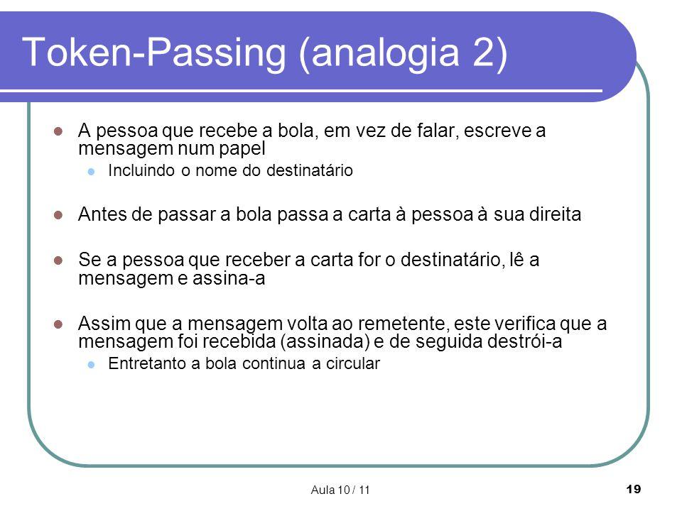 Aula 10 / 1119 Token-Passing (analogia 2) A pessoa que recebe a bola, em vez de falar, escreve a mensagem num papel Incluindo o nome do destinatário A