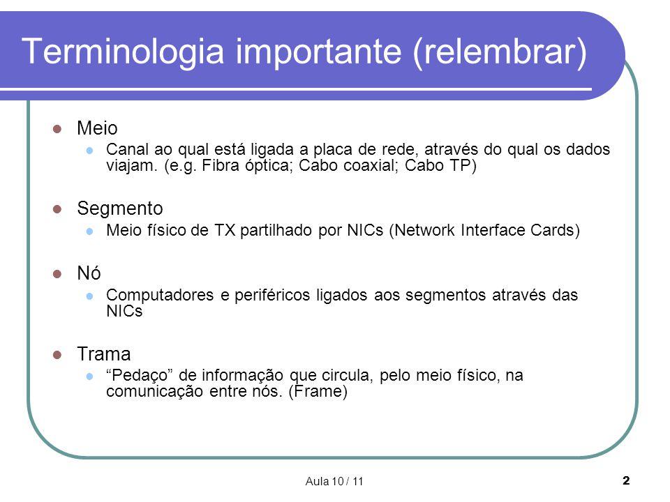 Aula 10 / 112 Terminologia importante (relembrar) Meio Canal ao qual está ligada a placa de rede, através do qual os dados viajam. (e.g. Fibra óptica;