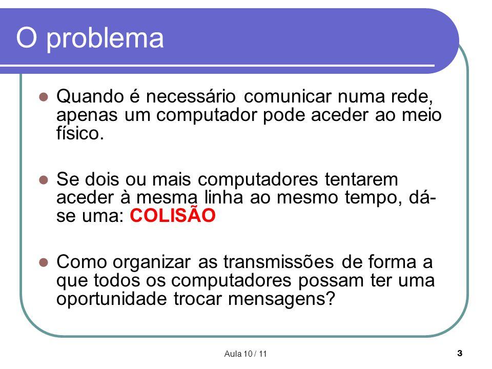 Aula 10 / 113 O problema Quando é necessário comunicar numa rede, apenas um computador pode aceder ao meio físico. Se dois ou mais computadores tentar