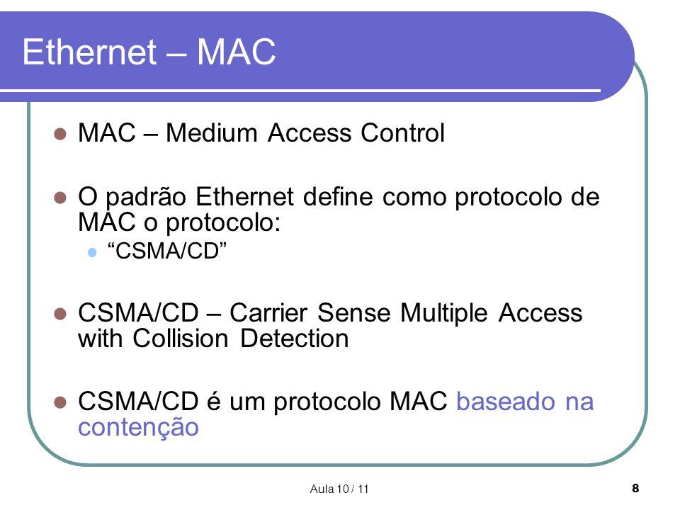 Aula 10 / 118 Ethernet – MAC MAC – Medium Access Control O padrão Ethernet define como protocolo de MAC o protocolo: CSMA/CD CSMA/CD – Carrier Sense M