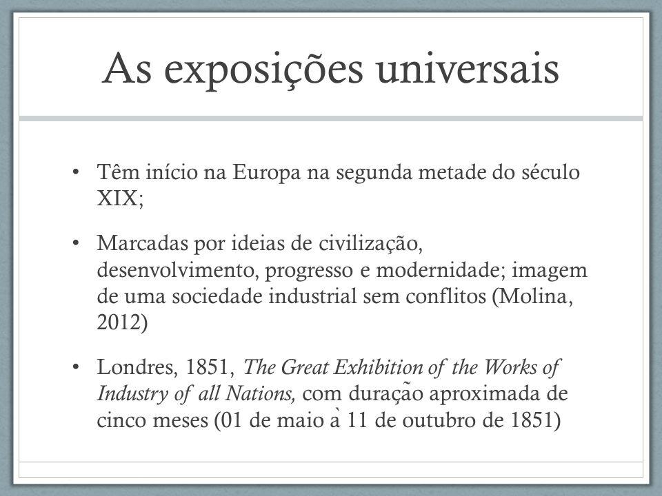 As exposições universais Têm início na Europa na segunda metade do século XIX; Marcadas por ideias de civilização, desenvolvimento, progresso e modern