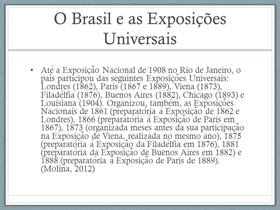 O Brasil e as Exposições Universais Ate a Exposic ̧ a ̃ o Nacional de 1908 no Rio de Janeiro, o pais participou das seguintes Exposic ̧ o ̃ es Univers