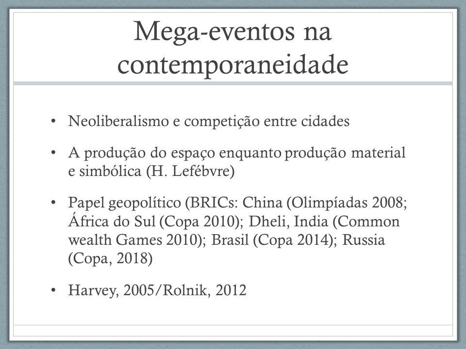 Mega-eventos e processos espaciais urbanos Valorização do espaço/especulação imobiliária Fragmentação Produção/reforço de áreas de centralidade Segregação socio-espacial/remoção de pessoas