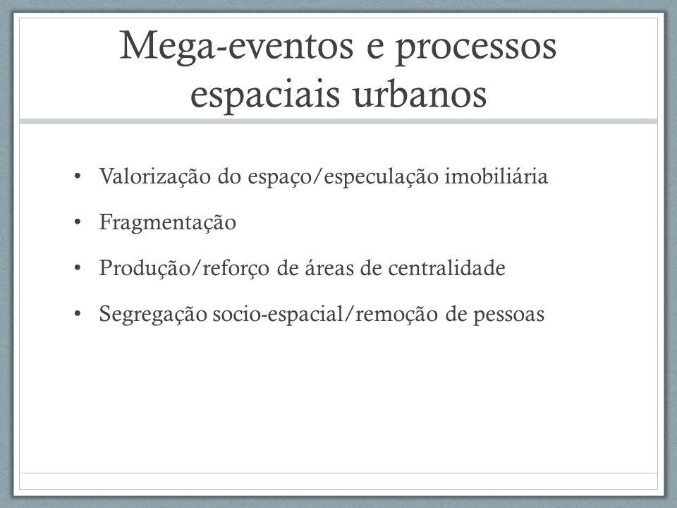 Mega-eventos e processos espaciais urbanos Valorização do espaço/especulação imobiliária Fragmentação Produção/reforço de áreas de centralidade Segreg
