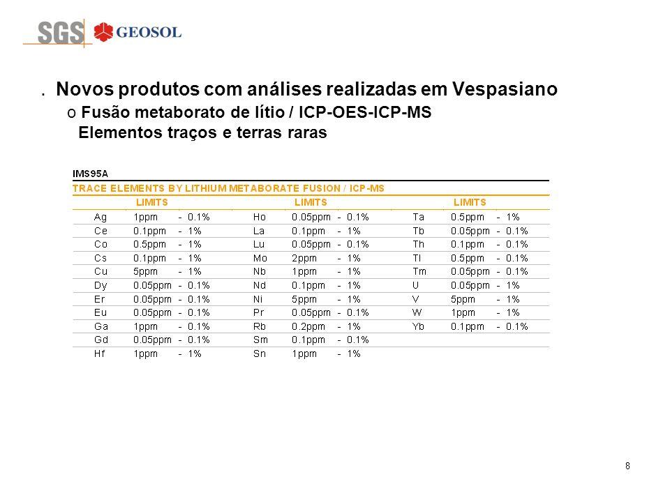 8. Novos produtos com análises realizadas em Vespasiano o Fusão metaborato de lítio / ICP-OES-ICP-MS Elementos traços e terras raras o Análises por fu