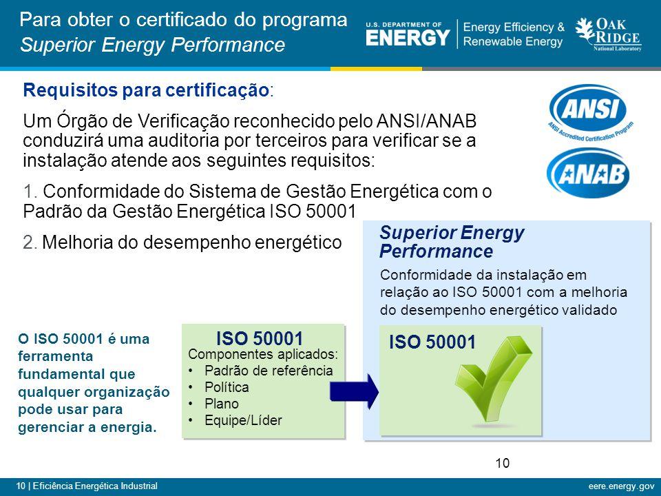 10 | Eficiência Energética Industrialeere.energy.gov Requisitos para certificação: Um Órgão de Verificação reconhecido pelo ANSI/ANAB conduzirá uma auditoria por terceiros para verificar se a instalação atende aos seguintes requisitos: 1.