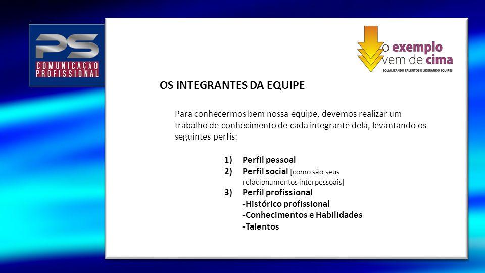 OS INTEGRANTES DA EQUIPE 1)Perfil pessoal 2)Perfil social [como são seus relacionamentos interpessoais] 3)Perfil profissional -Histórico profissional