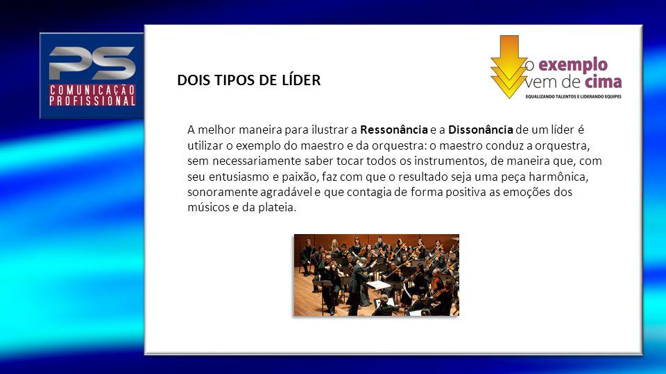 DOIS TIPOS DE LÍDER A melhor maneira para ilustrar a Ressonância e a Dissonância de um líder é utilizar o exemplo do maestro e da orquestra: o maestro
