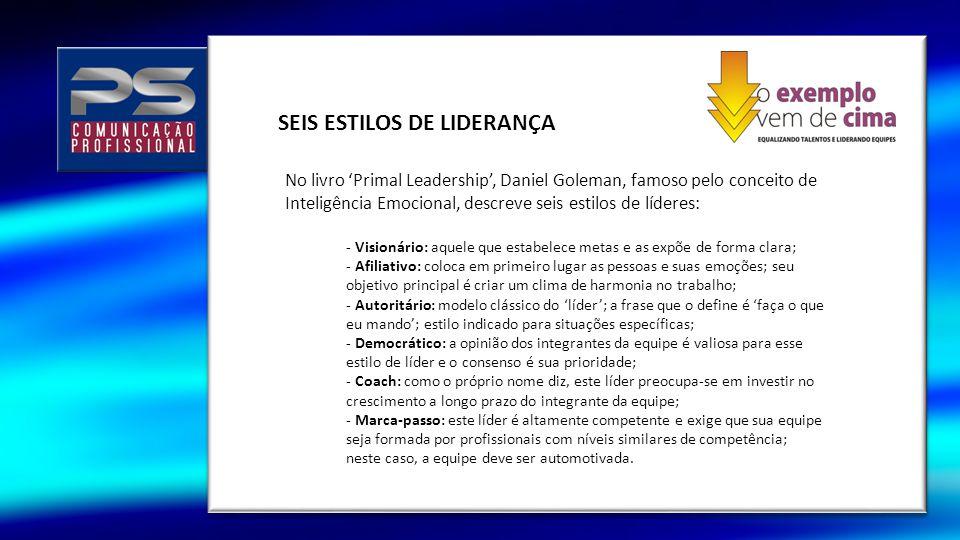 SEIS ESTILOS DE LIDERANÇA No livro Primal Leadership, Daniel Goleman, famoso pelo conceito de Inteligência Emocional, descreve seis estilos de líderes