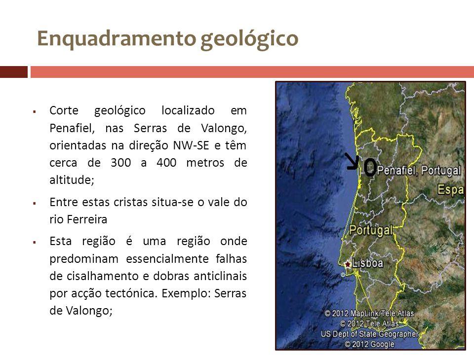Enquadramento geológico Corte geológico localizado em Penafiel, nas Serras de Valongo, orientadas na direção NW-SE e têm cerca de 300 a 400 metros de