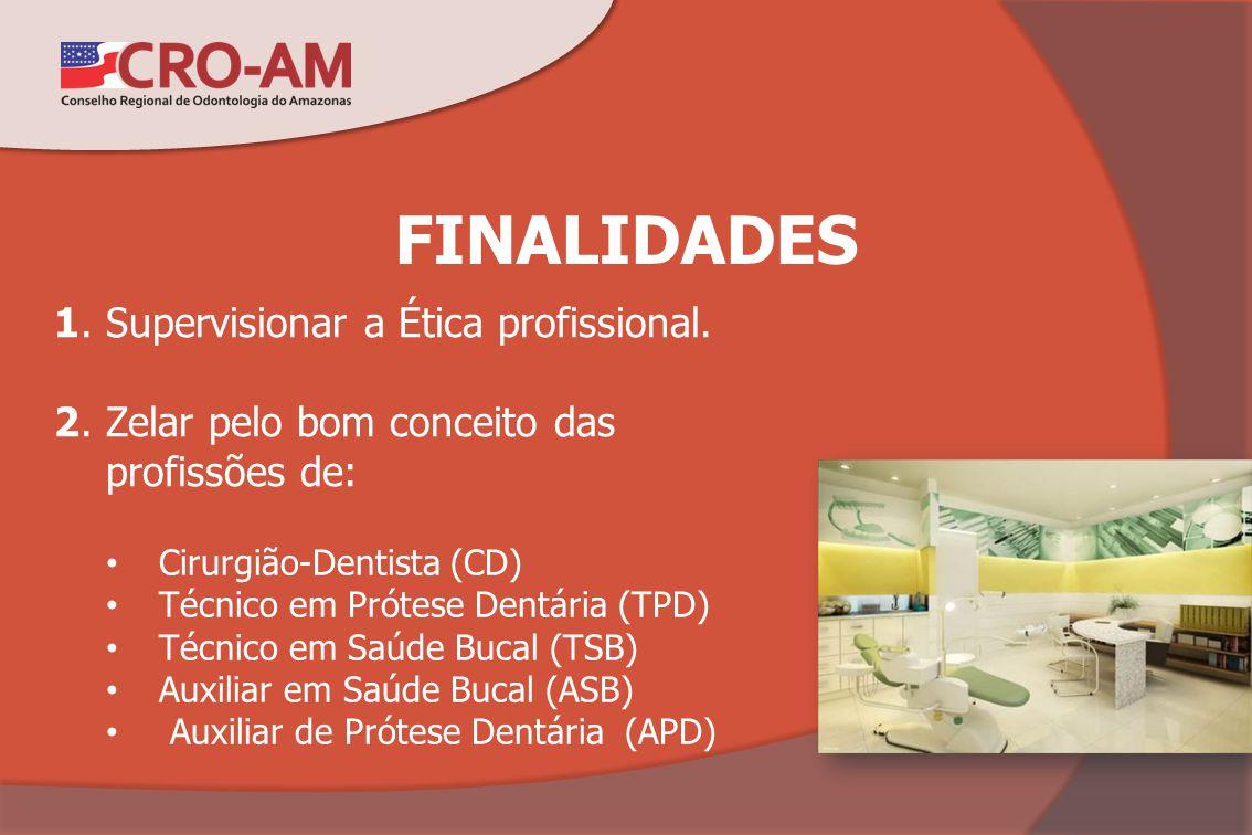 FINALIDADES 1. Supervisionar a Ética profissional. 2. Zelar pelo bom conceito das profissões de: Cirurgião-Dentista (CD) Técnico em Prótese Dentária (