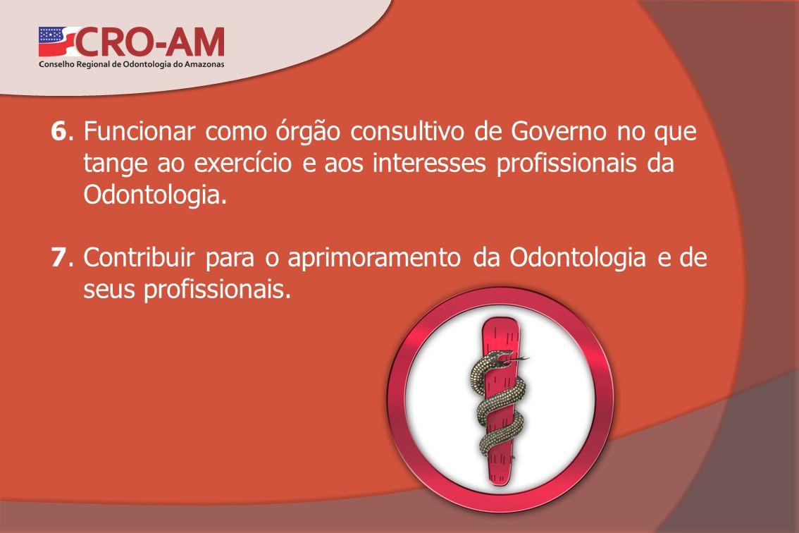 6. Funcionar como órgão consultivo de Governo no que tange ao exercício e aos interesses profissionais da Odontologia. 7. Contribuir para o aprimorame