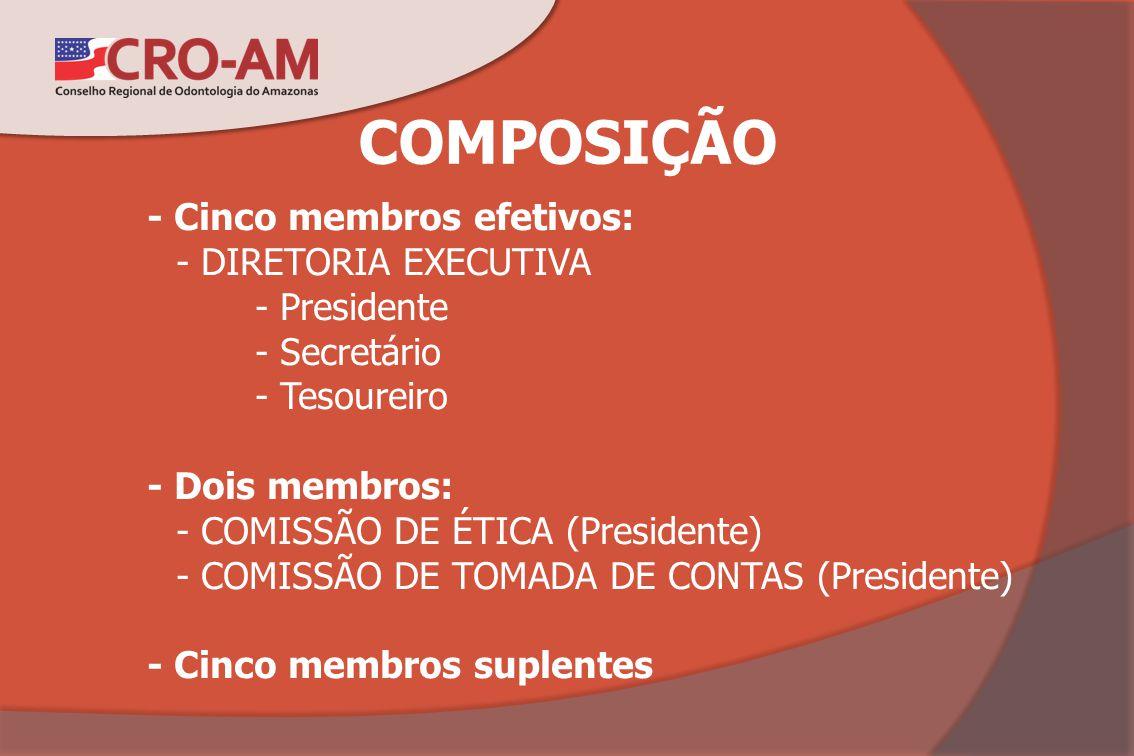 COMPOSIÇÃO - Cinco membros efetivos: - DIRETORIA EXECUTIVA - Presidente - Secretário - Tesoureiro - Dois membros: - COMISSÃO DE ÉTICA (Presidente) - C