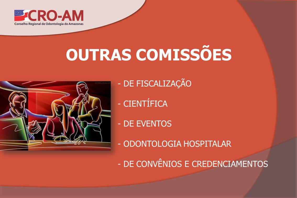 OUTRAS COMISSÕES - DE FISCALIZAÇÃO - CIENTÍFICA - DE EVENTOS - ODONTOLOGIA HOSPITALAR - DE CONVÊNIOS E CREDENCIAMENTOS