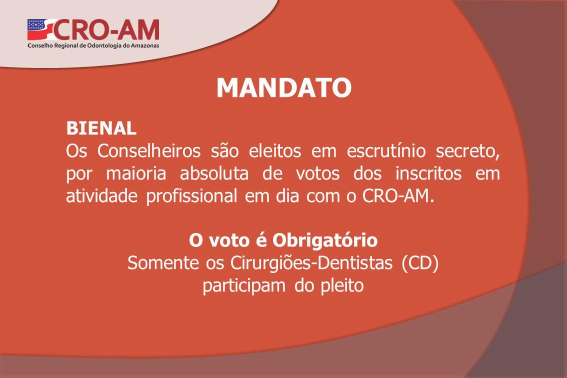 MANDATO BIENAL Os Conselheiros são eleitos em escrutínio secreto, por maioria absoluta de votos dos inscritos em atividade profissional em dia com o C