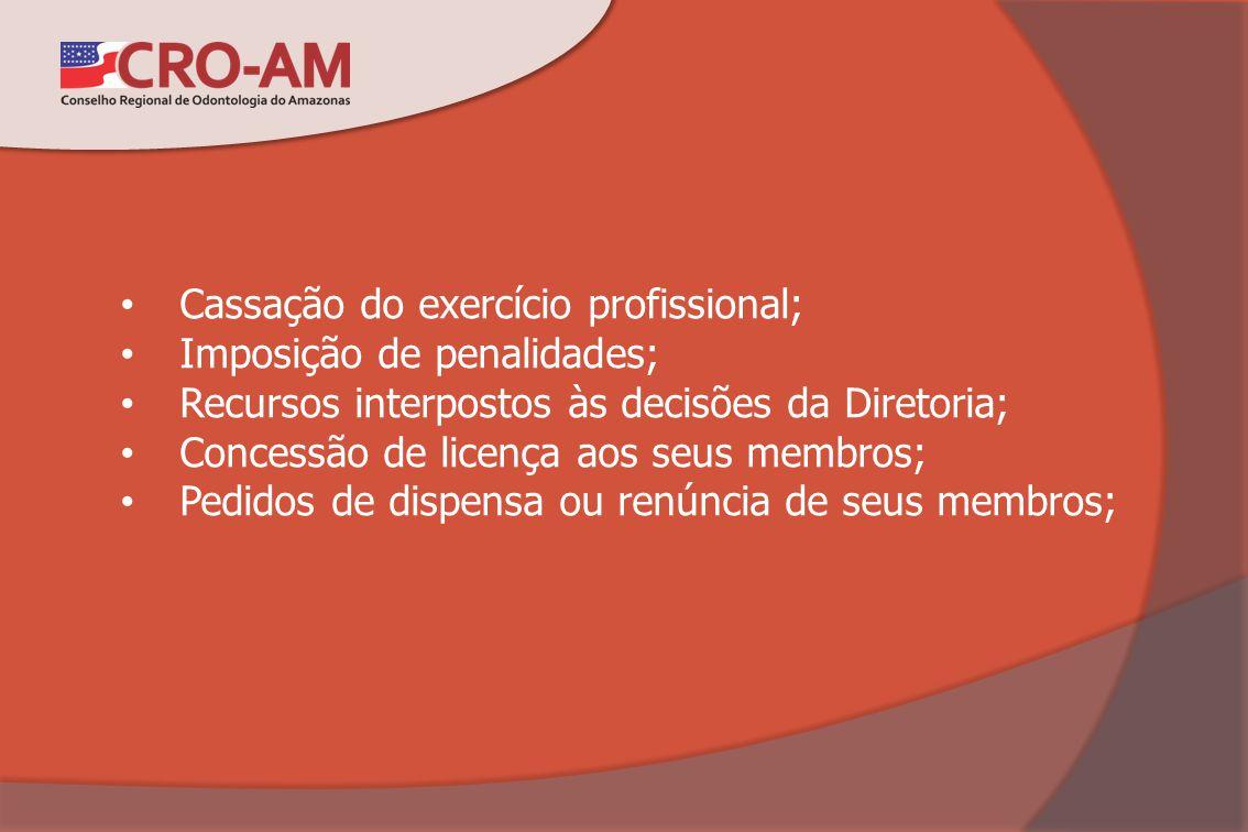Cassação do exercício profissional; Imposição de penalidades; Recursos interpostos às decisões da Diretoria; Concessão de licença aos seus membros; Pe