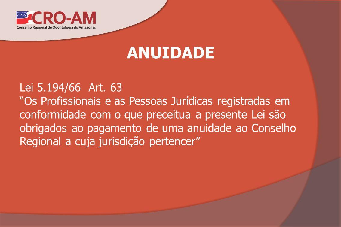 ANUIDADE Lei 5.194/66 Art. 63 Os Profissionais e as Pessoas Jurídicas registradas em conformidade com o que preceitua a presente Lei são obrigados ao