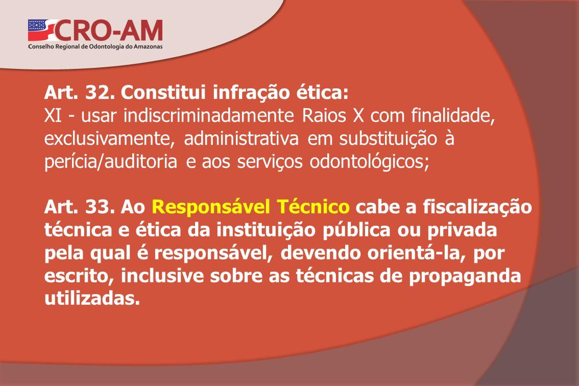 Art. 32. Constitui infração ética: XI - usar indiscriminadamente Raios X com finalidade, exclusivamente, administrativa em substituição à perícia/audi