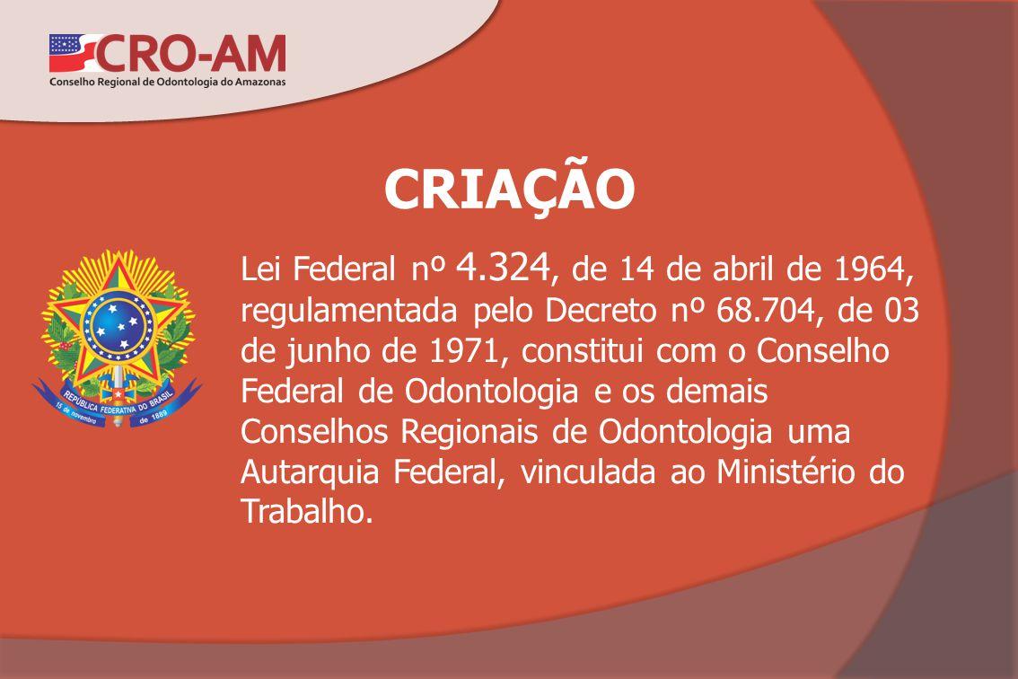 CRIAÇÃO Lei Federal nº 4.324, de 14 de abril de 1964, regulamentada pelo Decreto nº 68.704, de 03 de junho de 1971, constitui com o Conselho Federal d