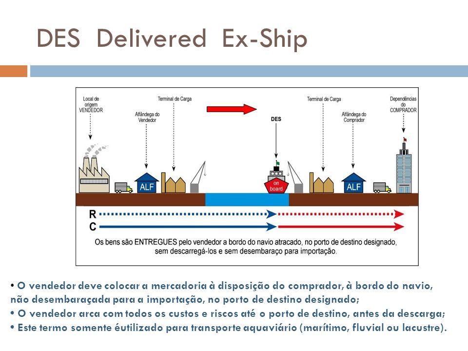 DES Delivered Ex-Ship O vendedor deve colocar a mercadoria à disposição do comprador, à bordo do navio, não desembaraçada para a importação, no porto