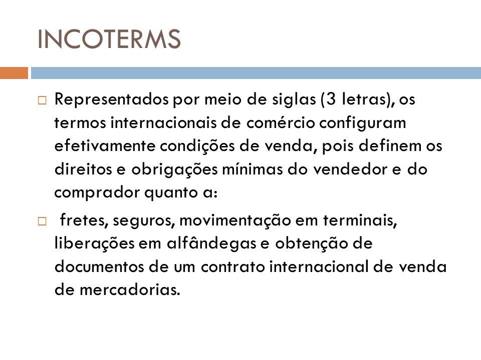 INCOTERMS Representados por meio de siglas (3 letras), os termos internacionais de comércio configuram efetivamente condições de venda, pois definem o