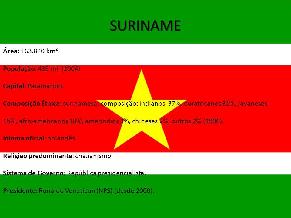 SURINAME Área: 163.820 km². População: 439 mil (2004) Capital: Paramaribo. Composição Étnica: surinamesa; composição: indianos 37%, eurafricanos 31%,