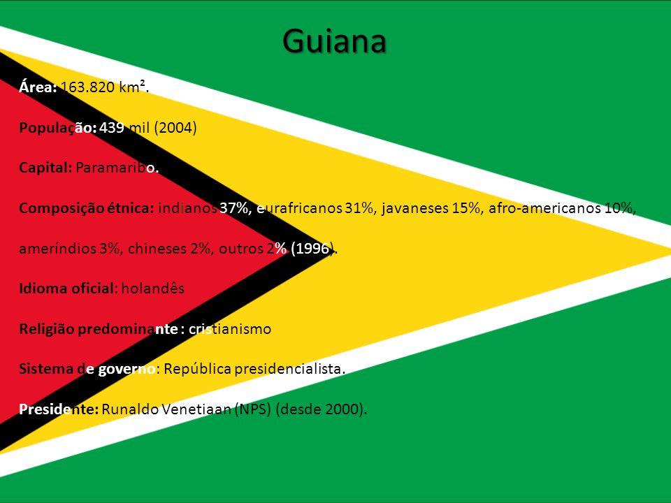 Guiana Área: 163.820 km². População: 439 mil (2004) Capital: Paramaribo. Composição étnica: indianos 37%, eurafricanos 31%, javaneses 15%, afro-americ