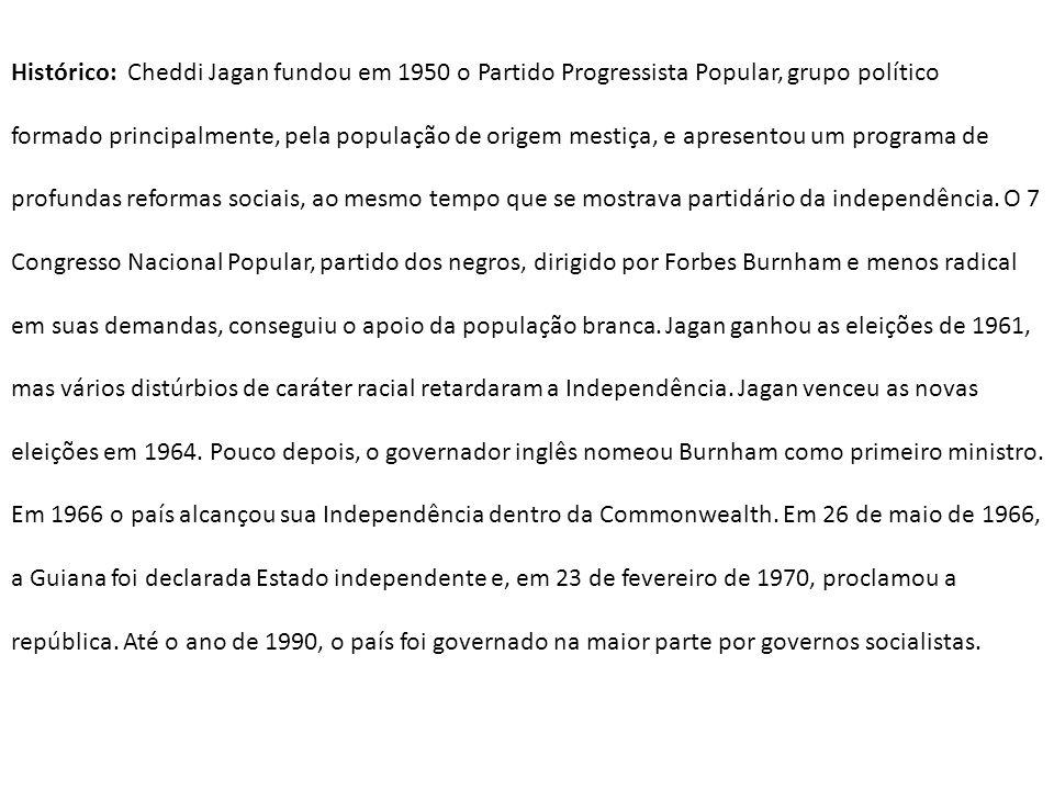 Histórico: Cheddi Jagan fundou em 1950 o Partido Progressista Popular, grupo político formado principalmente, pela população de origem mestiça, e apre