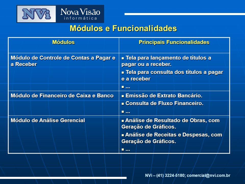 Módulos e Funcionalidades NVi – (41) 3224-5180; comercial@nvi.com.brMódulos Principais Funcionalidades Módulo de Controle de Contas a Pagar e a Recebe