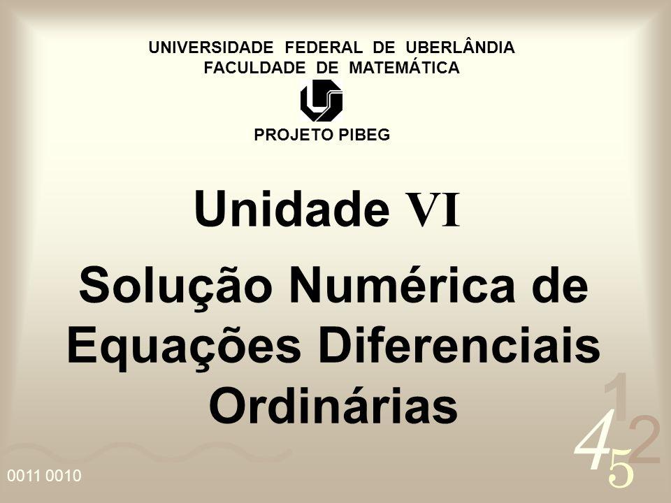 4 2 5 1 0011 0010 UNIVERSIDADE FEDERAL DE UBERLÂNDIA FACULDADE DE MATEMÁTICA PROJETO PIBEG Unidade VI Solução Numérica de Equações Diferenciais Ordiná