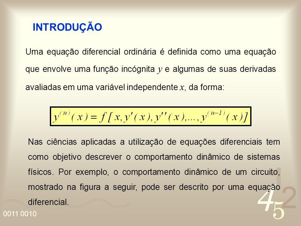 4 2 5 1 0011 0010 Uma equação diferencial ordinária é definida como uma equação que envolve uma função incógnita y e algumas de suas derivadas avaliad