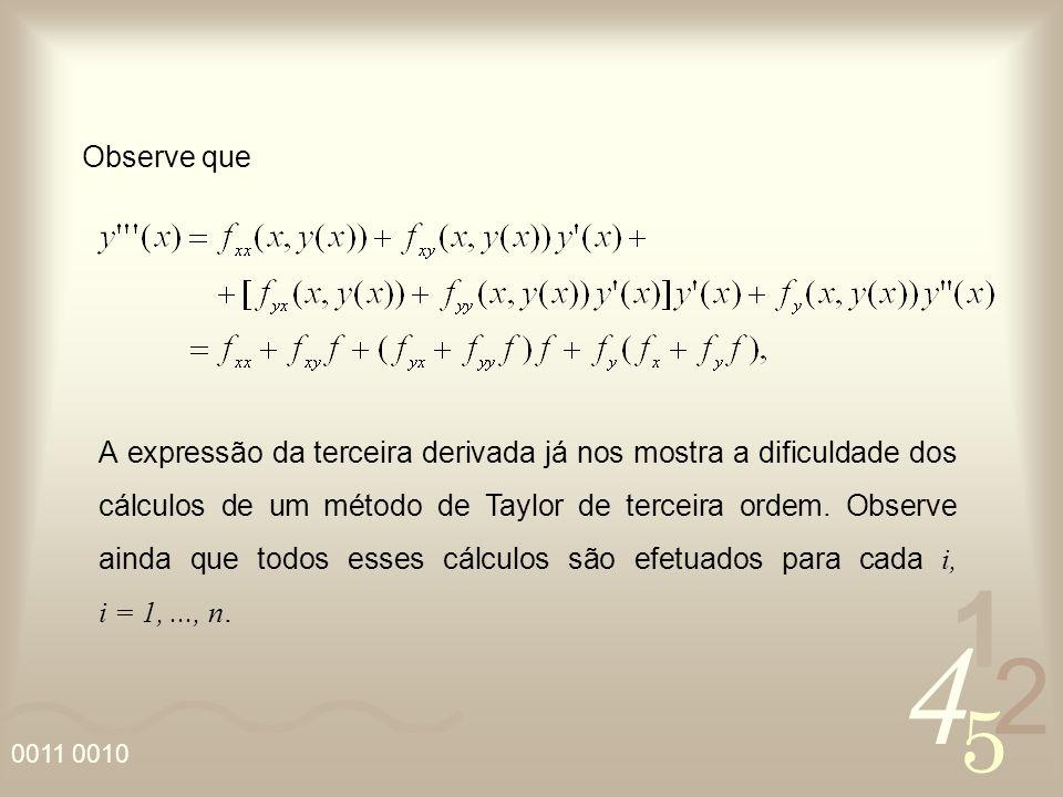 4 2 5 1 0011 0010 A expressão da terceira derivada já nos mostra a dificuldade dos cálculos de um método de Taylor de terceira ordem. Observe ainda qu
