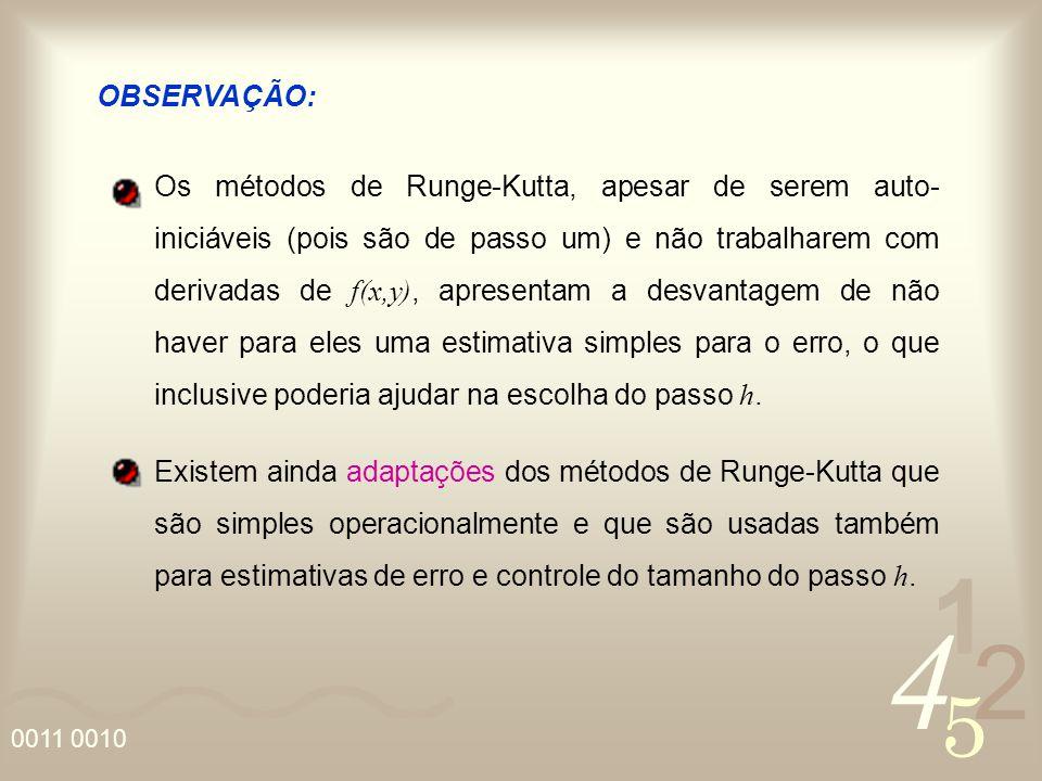 4 2 5 1 0011 0010 OBSERVAÇÃO: Os métodos de Runge-Kutta, apesar de serem auto- iniciáveis (pois são de passo um) e não trabalharem com derivadas de f(