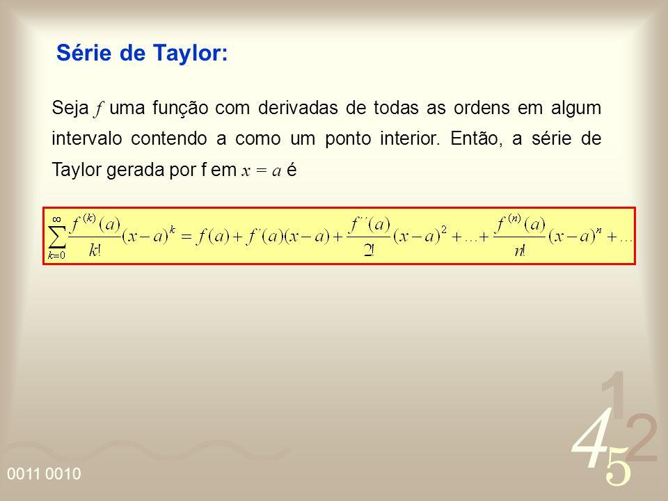 4 2 5 1 0011 0010 Série de Taylor: Seja f uma função com derivadas de todas as ordens em algum intervalo contendo a como um ponto interior. Então, a s