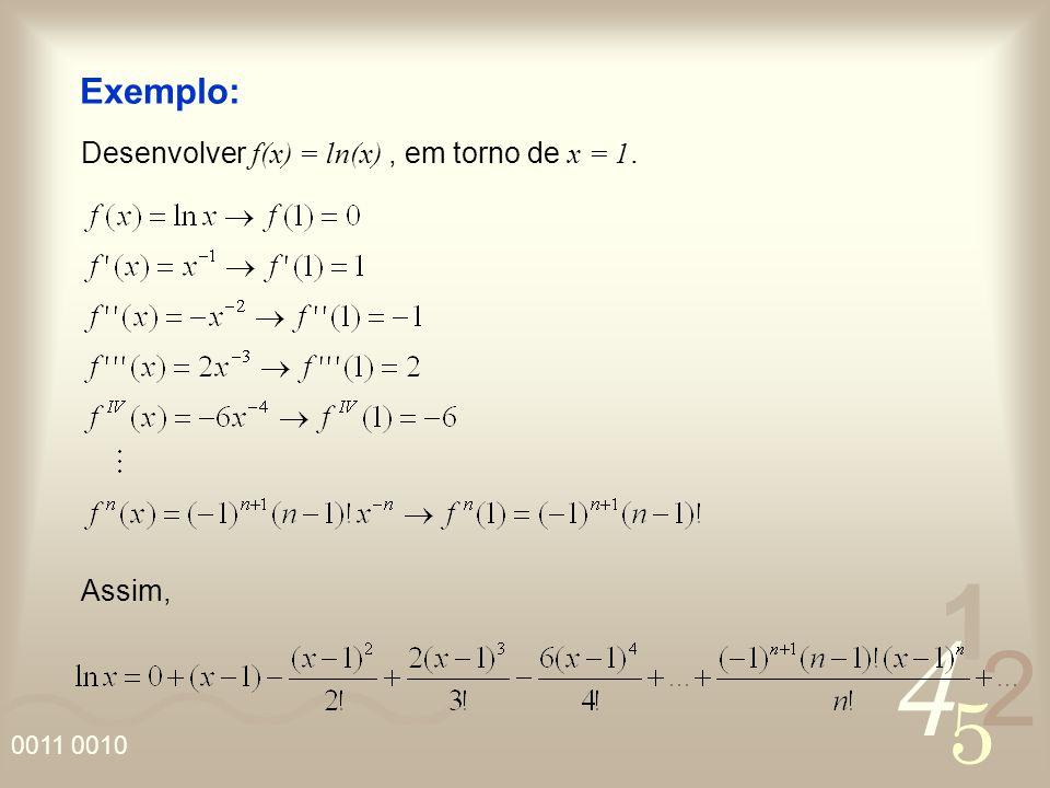 4 2 5 1 0011 0010 Exemplo: Desenvolver f(x) = ln(x), em torno de x = 1. Assim,