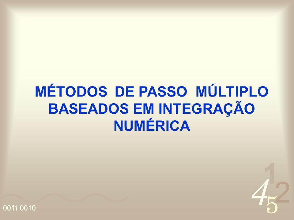 4 2 5 1 0011 0010 MÉTODOS DE PASSO MÚLTIPLO BASEADOS EM INTEGRAÇÃO NUMÉRICA